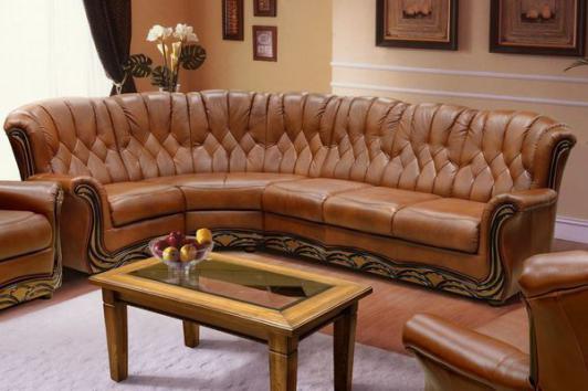 кожаный угловой диван европа со спальным местом из кожи фото цена